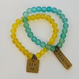 Mantra Resin Bead Bracelet Set - Vintage